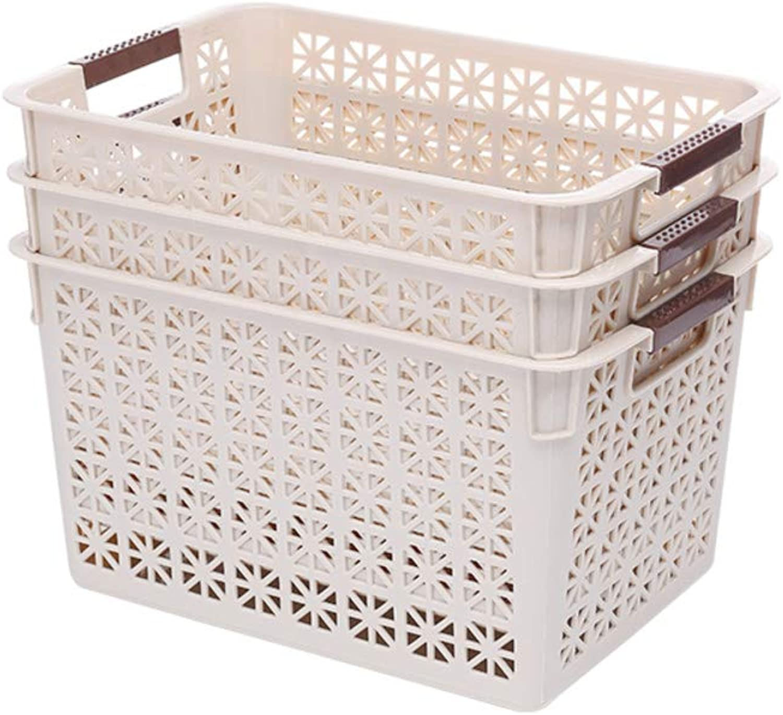 Kitchen Storage Basket, Bathroom Storage Basket Plastic with Handle [Hollow] bluee Living Room Bedroom Office Multifunctional Storage Basket-N