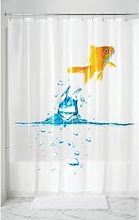 "InterDesign Finn Goldfish PVC-Free 5G PEVA Shower Curtain - 72"" x 72"", Multi Color"