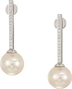 10mm Round Pearls Steel Earrings with 1.25 mm Of CZ Accents
