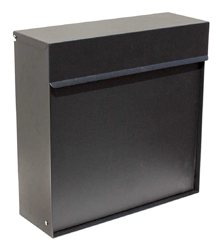 Qualarc WF-P015 Covina Wall Mount Rectangular Mailbox with Hidden Lock, Black