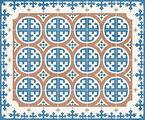Alfombra Vinílica Baldosa Hidráulica Vintage para Cocina Pasillo Salón Dormitorio Exteriores| Alfombra PVC Antideslizante Cocina | Moqueta Vinilo Salón y Pasillo (Tostado/Azul, 60x50 cm)