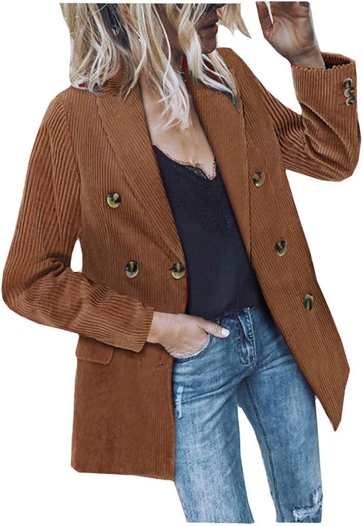 Sunmoot Winter 2019 Women Corduroy Suit Coat Classic Lapel Double-Breasted Blazer Jacket