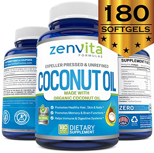 Organic Coconut Oil Capsules - 180 Softgels, Coconut Oil Pills Made with Unrefined Certified Organic Coconut Oil, Expeller Pressed. Non GMO & Gluten Free, Rich in MCT MCFA Coconut Oil Supplement