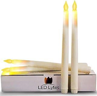 شمعهای شمشیر بدون شعله تایمر Tapered از 4 عدد شمع LED بدون شعله باتری ، موم عاج و بلوط زرد کهربا ، پایه 11 اینچ بلند و 3/4 توسط LED Lytes
