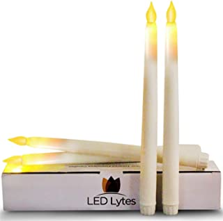 LED Lytes Tapered Timer Candlesticks Flameless Candles - Set of 4 Battery Operated Flameless LED Candles, Ivory Wax and Flickering Amber Yellow Flame, 11 Inches Tall and 3/4 Base