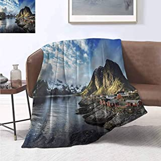 jecycleus Island Luxury Special Grade Blanket Fishing Hut Photo in Autumn with Rocks and Clouds Scenery Northern Norway Cold Multi-Purpose use for Sofas etc. W91 by L60 Inch Blue Grey White