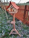 Vogelhaus mit Nistkasten und Ständer aus Holz, Futterhaus, Futterstation für Wildvögel, Vogelfutterhaus zum Stellen für...