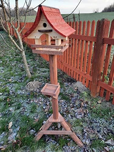 Vogelhaus mit Nistkasten und Ständer aus Holz, Futterhaus, Futterstation für Wildvögel, Vogelfutterhaus zum Stellen für den Garten oder Balkon 6 Farben (Natur + Palisander + Mahagoni)