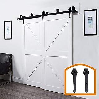 ZEKOO Rustic 5 FT Bypass Door Hardware Sliding Steel Track for Double Wooden Doors Kit