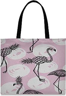JEOLVP Große quadratische Kapazitäts-Schulter-Reisetasche-populäre rosa Ananas mit Flamingo-Taschen-Segeltuch-Druck 19,7 x 16.9in für die Mädchen-Damen, die tägliche Arbeit kaufen