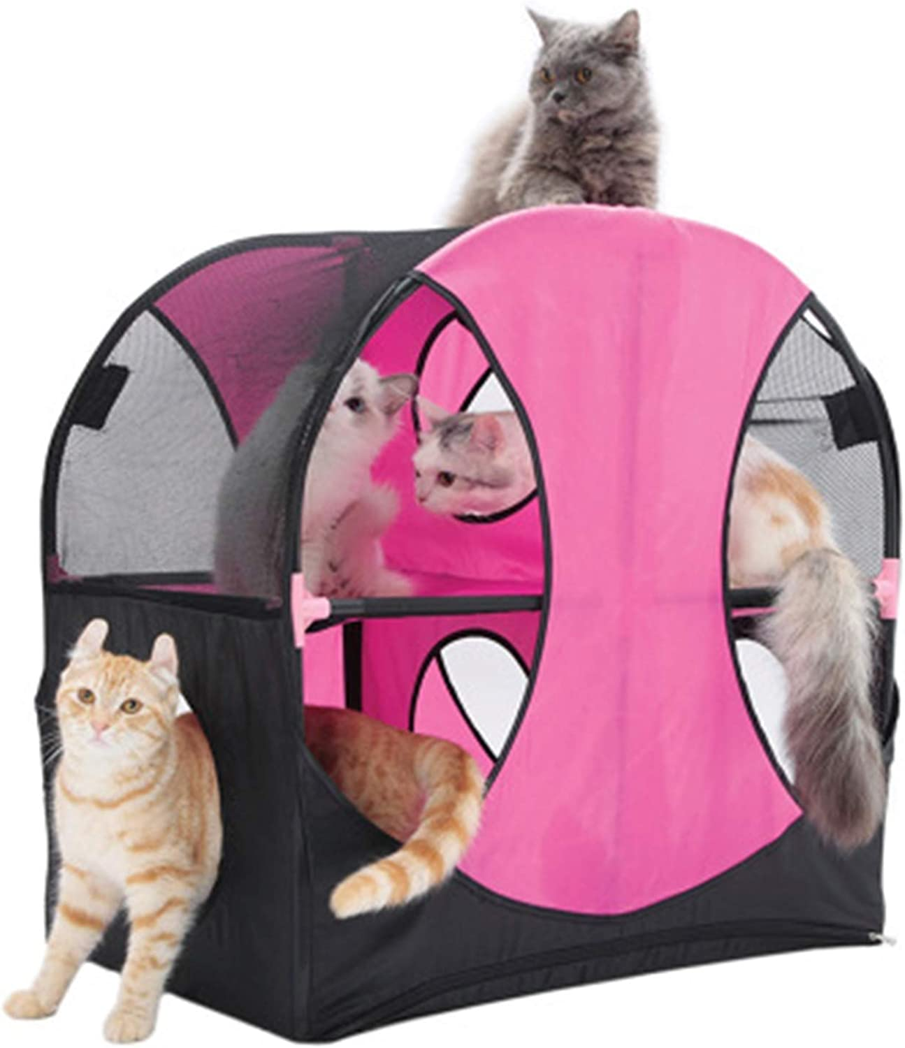 Cat Furniture Oxford Cloth Cat Tunnel Pet Toy Detachable Combination Cat Nest Double Layer Cat Creative Frame Climbing Frame 66X66X42cm