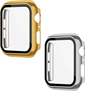 XFEN 2 Pack Hard Protective Snap on Case with Tempered Glass Screen Protector Compatible with Apple Watch Series 6 SE Series 5 Series 4 44mm, All Around Shiny Hard Cover (Gold+Silver)