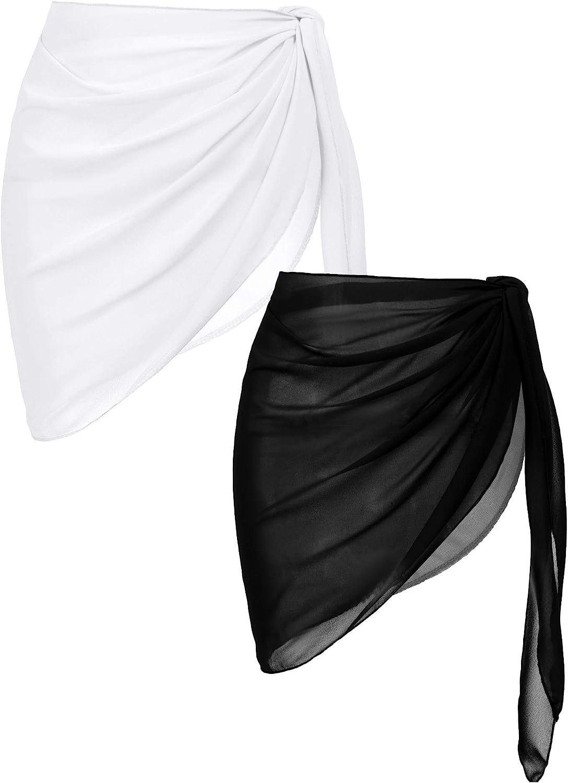 Ekouaer 2 Pieces Women Beach Sarongs Sheer Cover Ups Chiffon Bikini Wrap Skirt for Swimwear S-XXL