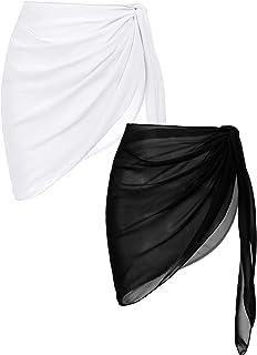 2 Pieces Women Beach Sarongs Sheer Cover Ups Chiffon...