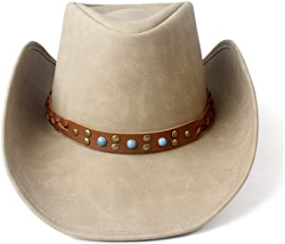 SHENTIANWEI Women Men Western Cowboy Hat with Punk Band Leather Sombrero Cowgirl Hat