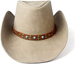 2019 Women Womens Unisex Western Cowboy Cap for Women Fedora with Punk Band Leather Sombrero Cowgirl Hat Leather Outdoor Travel Casual Fashion Lightweight (Color : Tan, Size : 58-59)