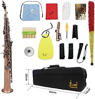 ammoon LADE Straight Bb Soprano Saxophone Sax Woodwind Instrument Abalone Shell Key Carve Pattern with Case Gloves Cleaning Cloth Straps Brush,Red Bronze,WSS-899