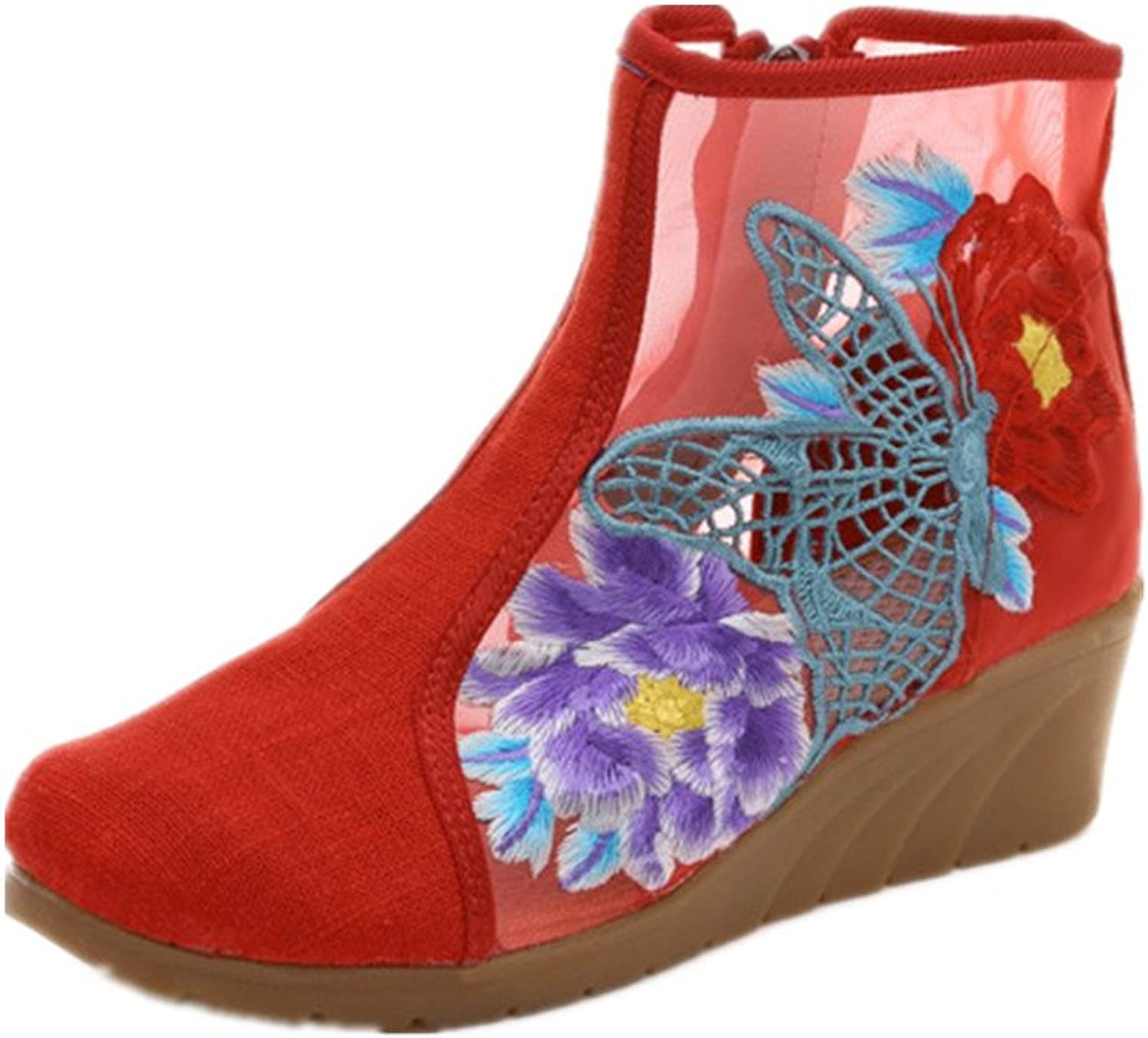 Tianrui Crown Women and Ladies The Butterfly Embroidery Pierced Summer Ankle Boot shoes