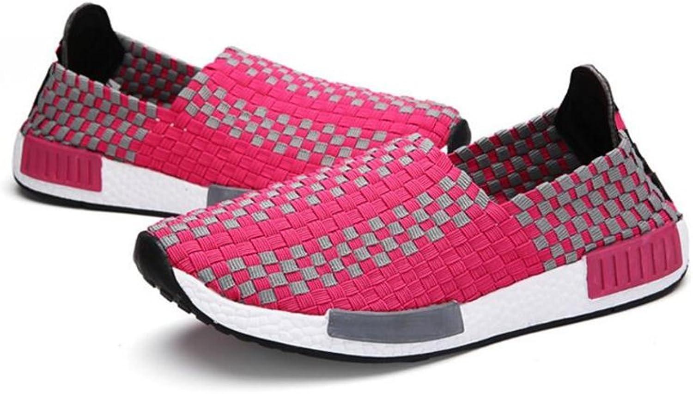 ALLAK Women's Woven Slip On Walking shoes Loafers Handmade Travel Sneakers