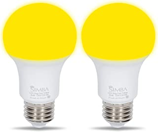 Bug Repellent Yellow LED Bulb 6W 40W Equivalent by Simba Lighting, Great for Outdoor Porch Light, Night Light, Dusk-to-Dawn Smart Sensor Auto On/Off, Amber Warm 2000K, A19 E26 Medium Base, Pack of 2
