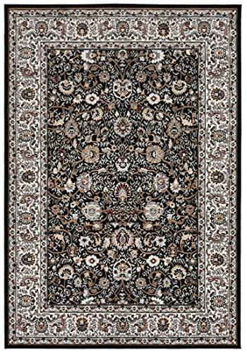 Carpeto Rugs Orientalisch Blumen Teppich - Kurzflor - Weich Teppich für Wohnzimmer, Schlafzimmer, Esszimmer - ÖKO-TEX Wohnzimmerteppich - Grau Schwarz - 200 x 300 cm