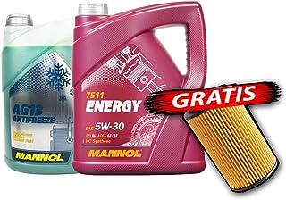 SCT Germany,Mannol motoröl energy 5w30 5l + kühlerfrostschutz 5l + Ölfilter MN7511, AG13 5liter, SH4043P