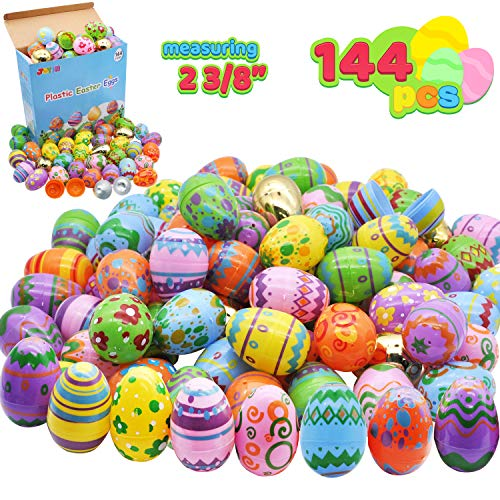 Review Of 144 Pcs Plastic Printed Bright Easter Eggs Plus Golden Eggs 2 3/8 Tall for Easter Hunt, B...