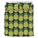 RQPPY Mikrofaser-Bettbezug-Set, Ananas, 3-teilig, Polyester, weiß, 66x90 inch