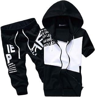 [SunSet Hill] ジャージ 上下セット セットアップ フード付き パーカー 半袖 7分丈パンツ スポーツウェア アウトドア 英字プリント メンズ レディース ズボン ハーフパンツ
