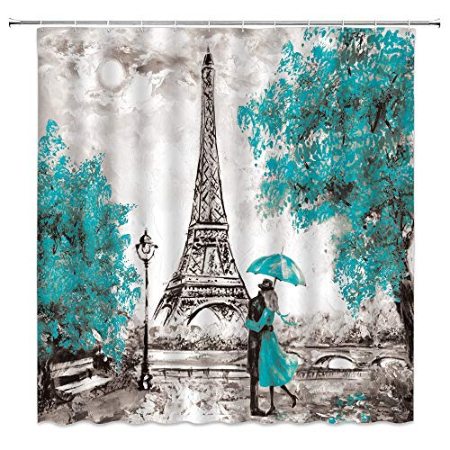 Paris Shower Curtain Oil Painting Paris Eiffel Tower...