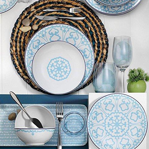 Kütahya Porselen Zeugma - Vajilla (24 piezas, 6 personas), color turquesa