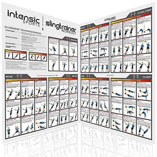 intensic SPORTS Slingtrainer Workout Poster - großes Doppelposter (2X DIN A1) mit 60 Fitness-Übungen fürs Slingtraining