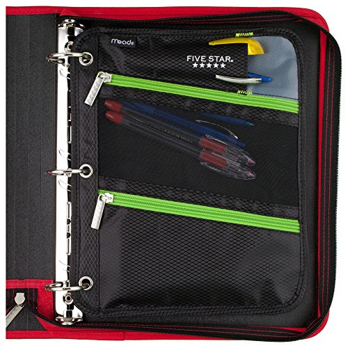 Five Star Zipper Pouch, Pencil Pouch, Pen Holder, Fits 3 Ring Binders, Red / Gray (50642BE7) Photo #4