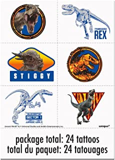 Unique Jurassic World 2 Party Color Tattoo Sheets, 24 Ct.