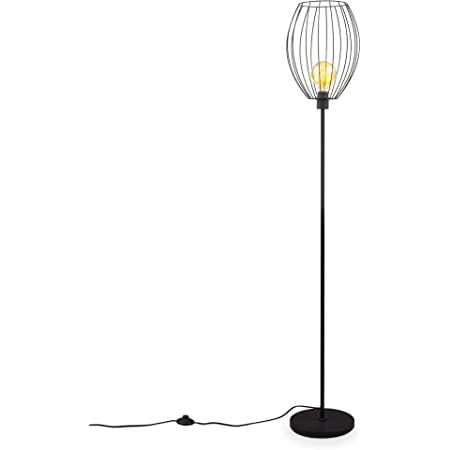 B.K.Licht Retro Lampadaire avec abat-jour en métal I Interrupteur à pédale I Hauteur 159,6 cm I douille E27 I Métal Noir I sans ampoule
