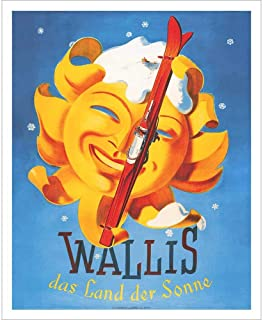 Wallis Sun Vintage Swiss Art Deco Ski Poster - 22 x 28 inches, Comes in 2 Sizes