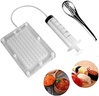 Caviar Maker Box, Spherification Dropper | Molecular Gastronomy Kit | 96 Holes Roe Sauce Dispenser Strainer Tools with Spoon & Syringe