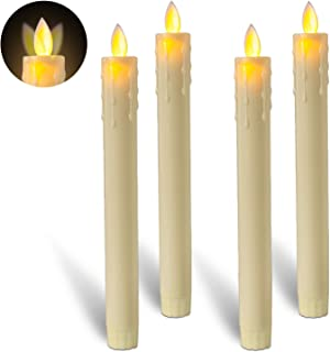 Beichi 8 Inch Flameless Taper Candles with Moving Wick, Flickering LED Candlesticks for Easter Decor, Table Centerpieces, Party Decoration, Set of 4, Ivory