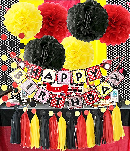Mickey Mouse Theme Birthday Party Supplies Mickey Mouse Backdrop Yellow Black Red Mickey Mouse Birthday Decorations/Tissue Paper Pom Pom Tassel Garland Mickey Mouse Party Decorations