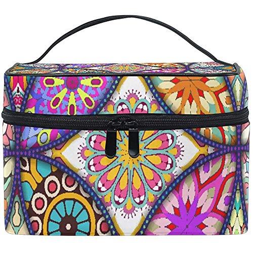 Estuche de Tren de Maquillaje Grande Boho Mandala Native Carrying Zip portátil portátil Cosmético BMakeup Bag Organizer