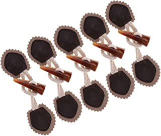 6 Pair Pu Leather Horn Toggle Sewing Closures Buttons for Coat Jacket Duffle