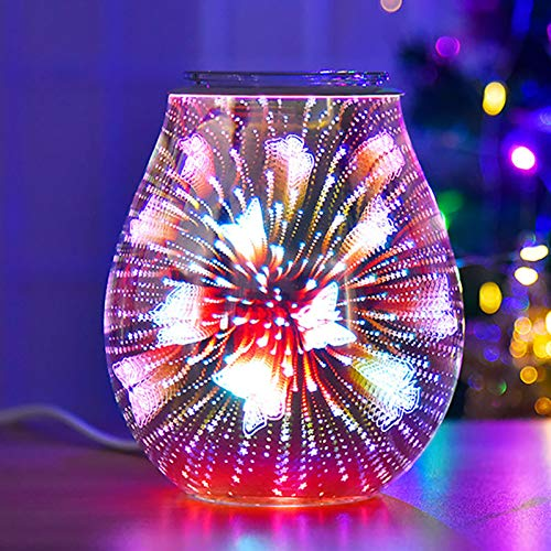 Verdelife Glass Aromatherapy Lamp, Electric Wax Burner, 3D Butterfly Color-changing Aromatherapy Lamp, Used for Home Office Bedroom Living Room Decoration Gifts