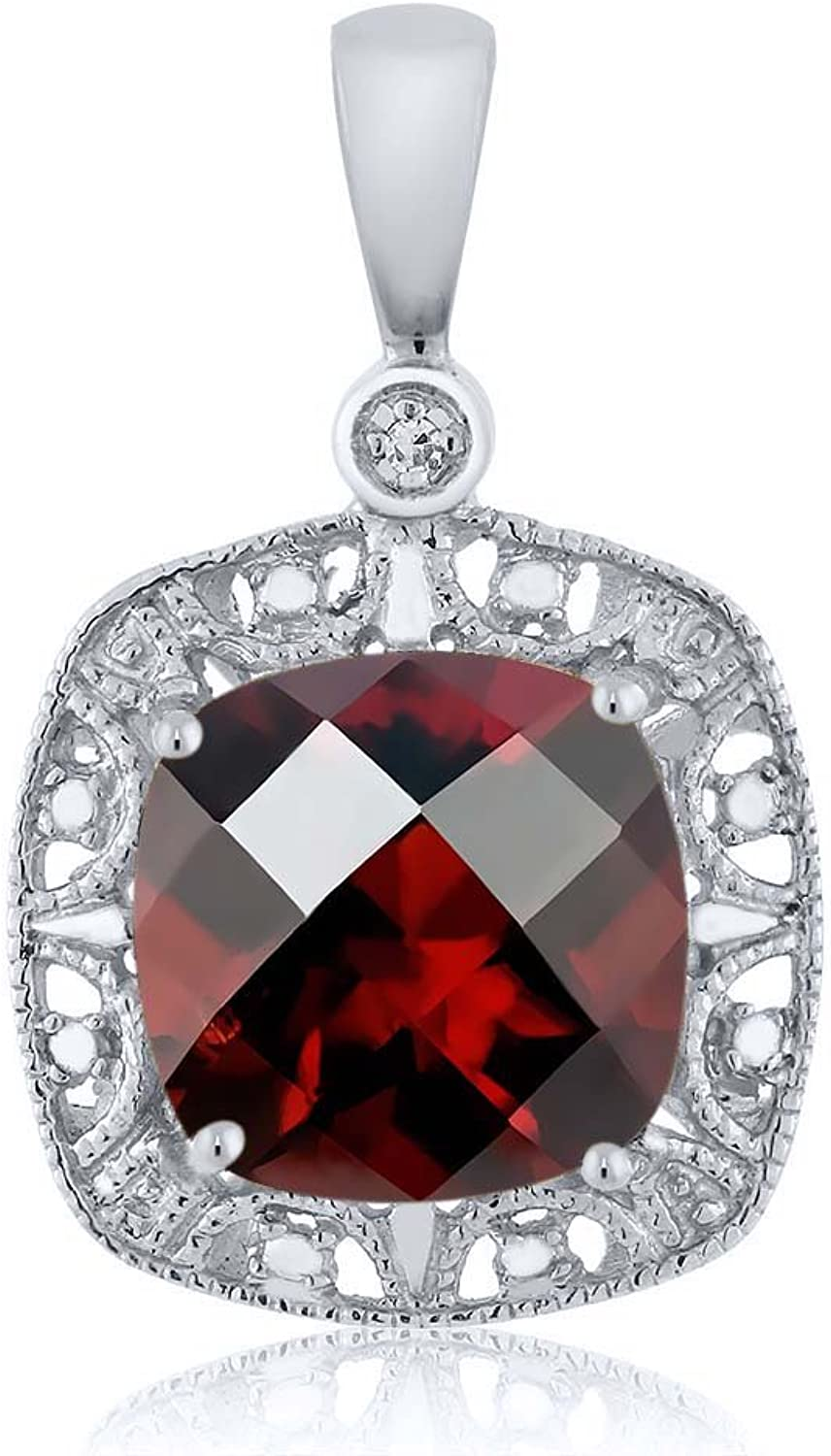 10K White gold Women's 8mm Cushion Checkerboard Red Garnet and Diamond Accent Necklace 2.4 cttw