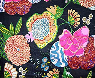 Sanganeri Screen Print Pure 100% Cotton Fabric Black Background/Base Color Yellow,White,Blue & Pink Color Fruit Design Printed 44 Inch Wide Running Dressmaking & Art,Craft Fabric 10 Yard Sold by
