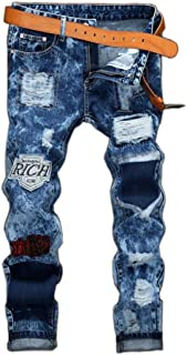 MR. R Men's Fashion Ripped Jeans with Patches