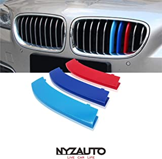 NYZAUTO M-Colored Stripe Grille Insert Trims for 2010-2016 BMW F10 F11 5 Series 528i 535i 550i with Standard Center Chrome Kidney Grill (10 Beams,Not Fit 12-Beam)