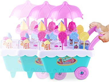 RONSHIN Simulate Kids Ice Cream Trolley Toy Play-House Toy Gift Ornament