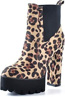 Women's Comfy Elastic Platform Boots Round Toe Chunky High Heel Pull on Ankle Booties