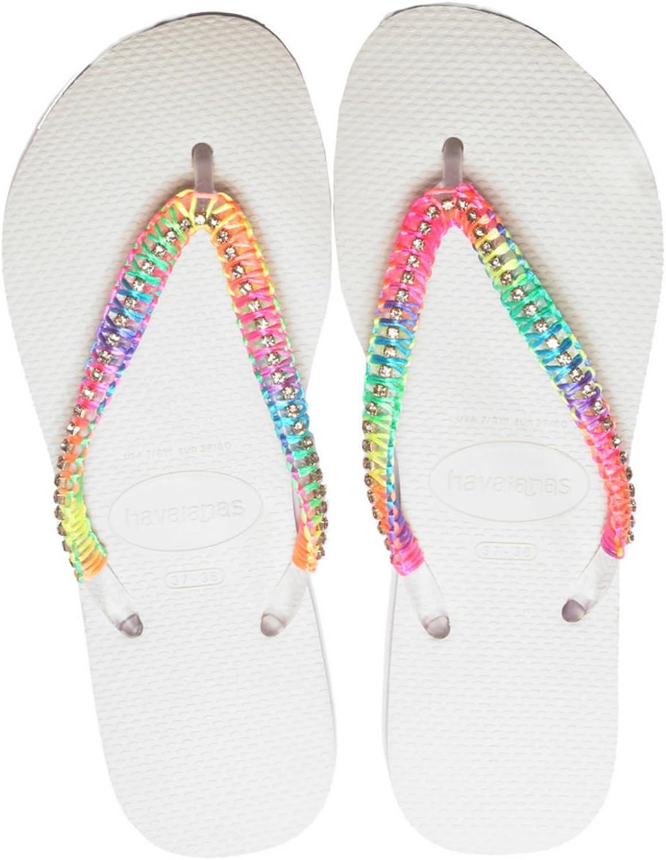 Havaians Women Neon Hand Made Flip Flop Braded Beach Sandals