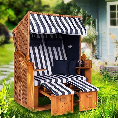 Strandkorb Ostsee XXL Volllieger 2 Sitzer - 120 cm breit - blau weiß dick gestreift inklusive Schutzhülle, ideal für Garten und Terrasse
